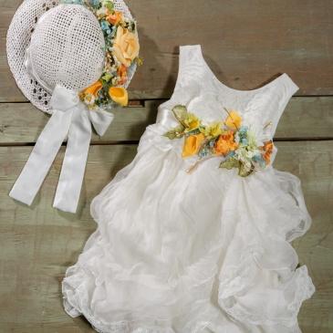#christening #vaftisi #girl #spring Ένα αγνό ανοιξιάτικο σύνολο που περιλαμβάνει: Φόρεμα (φόδρα από 100% βαμβάκι) με στρώσεις από δαντέλα και πλούσια ζώνη με υφασμάτινα λουλούδια Καπέλο ψάθινο διακοσμημένο με ασορτί λουλούδια Για όλα τα μικρά λουλουδάκια που ανθίζουν κοντά μας! Τιμή: 192 Ε