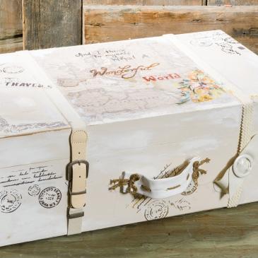 #vintage #suitcase #accessory #christening Ένα vintage βαλιτσάκι- κουτί βάπτισης σε μπεζ τόνους. Διακοσμημένο και ζωγραφισμένο στο χέρι χρησιμοποιώντας διαφορετικές τεχνοτροπίες. Ένα αντικείμενο που μπορεί να στολίσει τον χώρο σας διαχρονικά. Για αναμνήσεις που σας ταξιδεύουν! Ένα πλήρες σετ βάφτισης με κουτί, λαμπάδα, κεριά, πετσέτες, λαδοσέτ, λαδόπανα, 50 μαρτυρικά με το κουτάκι τους και βιβλίο ευχών ξεκινάει από 420 Ε
