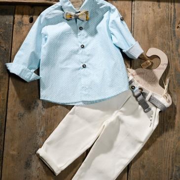 #littleboy #christeninglook Ένα φωτεινό βαφτιστικό σετ για αγόρι με ιδιαίτερο παπιγιόν που περιλαμβάνει: Πουκάμισο γαλάζιο με print Παντελόνι εκρού με κεντημένη λεπτομέρεια Ζώνη ασορτί Παπιγιόν ασορτί Σακάκι μάυρο Για τους μικρούς κυρίους που λάμπουν! Διαθέσιμο σε όλα τα νούμερα κατόπιν παραγγελίας. Τιμή: 120 Ε Εαν επιθυμείτε κάτι ακόμα πιο ιδιαίτερο επικοινωνήστε μαζί μας και θα χαρούμε να το δημιουργήσουμε αποκλειστικά για εσάς.