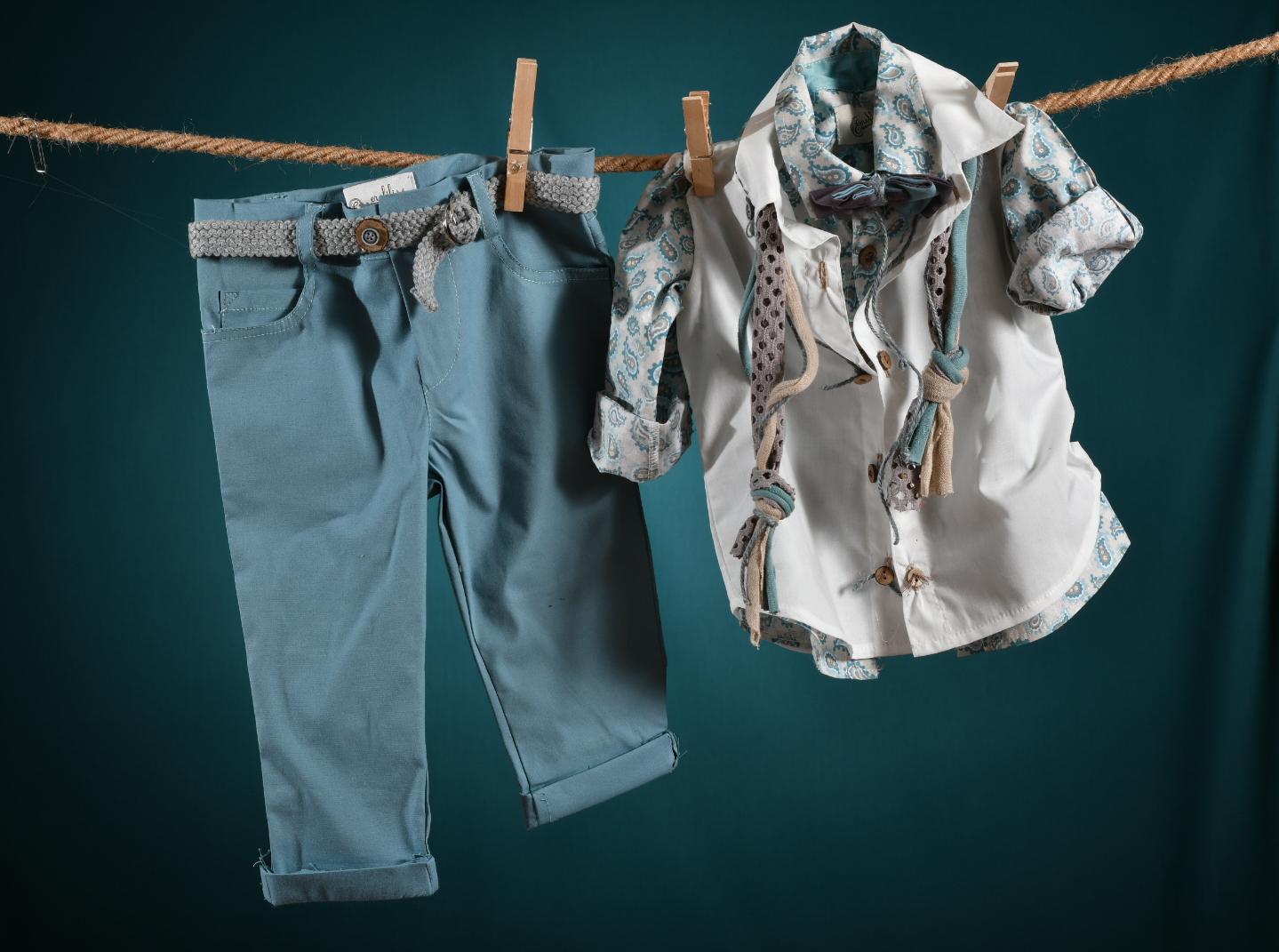 βαφτιστικά για αγόρι κοστούμι γαλάζιο μπεζ με πουκάμισο