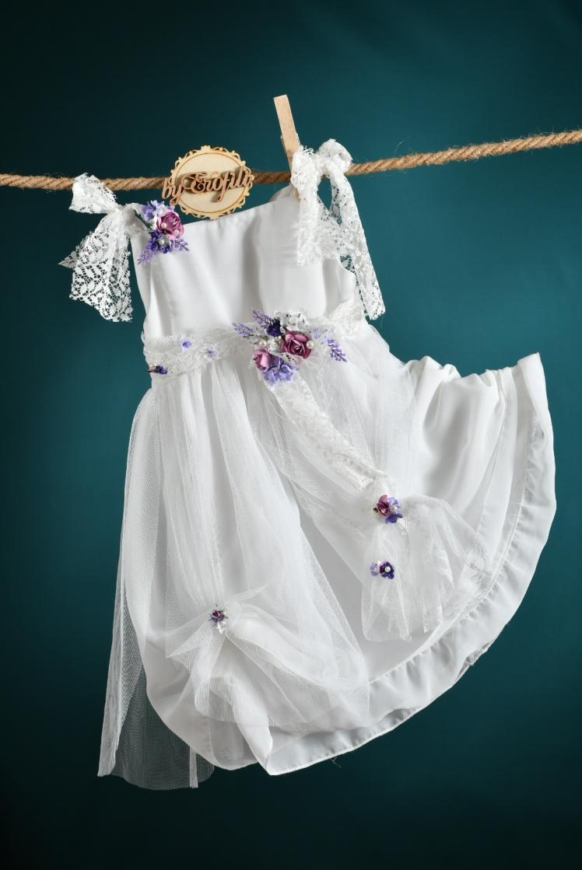 φόρεμα βάφτιση λευκό μωβ δαντέλα