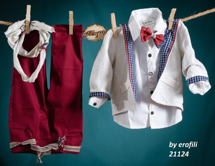 Ένα χαρούμενο βαφτιστικό σετ για αγόρι σε έντονο κόκκινο που περιλαμβάνει:Πουκάμισο λευκό Σακάκι με καρό φόδρα Παπιγιόν δίχρωμο χειροποίητο Φουλάρι αντρικό  Παντελόνι κόκκινο με πρωτότυπη ζώνη